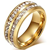 Mens Wedding Bands Classic 8MM Titanium Stainless Steel Plated 18K Gold Double Row CZ Crystal Womens Promise Anniversary Rings High Polished Finish Comfort Fit Size 6-13