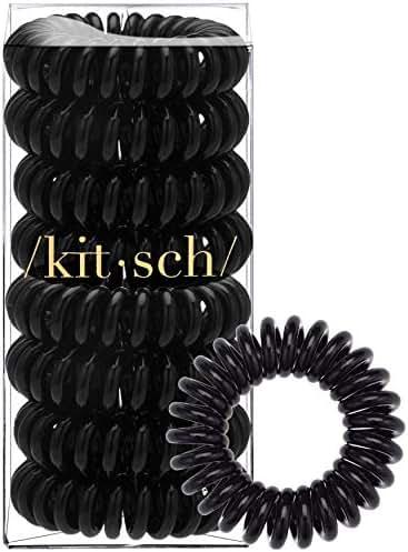 Kitsch Spiral Hair Ties, Coil Hair Ties, Phone Cord Hair Ties, Hair Coils - 8 Pcs, Black