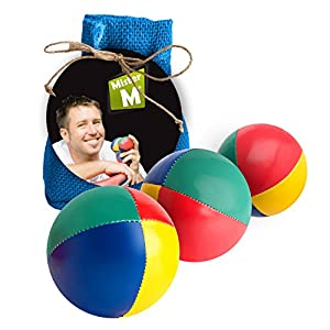 MRM 3 Quality Juggling Balls + Free Online Instructional Video + Burlap Carry Bag by MisterM Green (Blue)