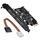 SupaHub PCI-E to USB 3.0 4-Port PCI Express Expansion Card, Windows XP, Vista, 7, 8, 10, Includes Drivers and SATA 15-Pin Power Connector
