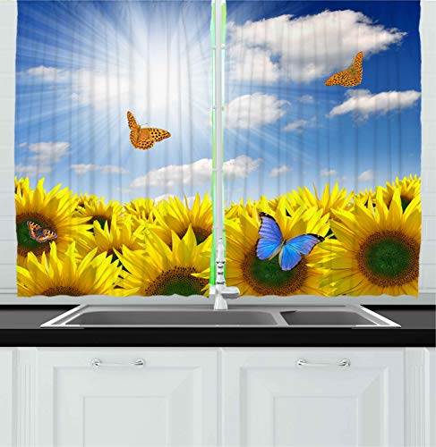Ambesonne Kitchen Decor Collection, Sunflowers in the Meadow with Flying Butterflies Floral Image Country Style Home Design, Window Treatments for Kitchen Curtains 2 Panels, 55X39 Inches, Yellow Blue