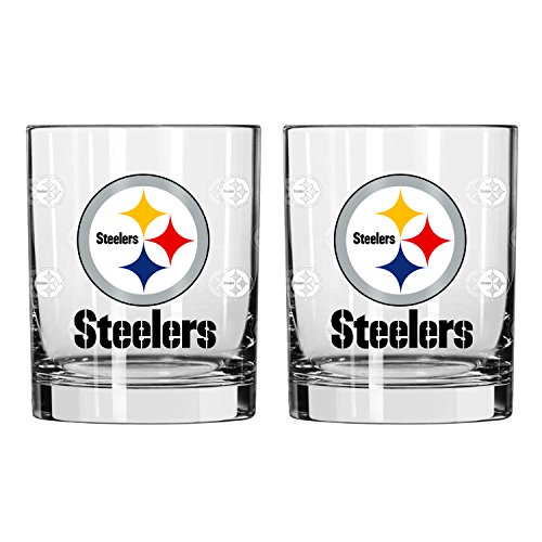 NFL Pittsburgh Steelers Satin Etch Rocks Glass, 14-ounce, 2-Pack (Rocks Steelers Pittsburgh Glass)