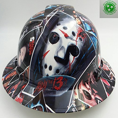 Wet Works Imaging Customized Pyramex Full Brim HORROR MOVIE POSTER Hard Hat With Ratcheting Suspension