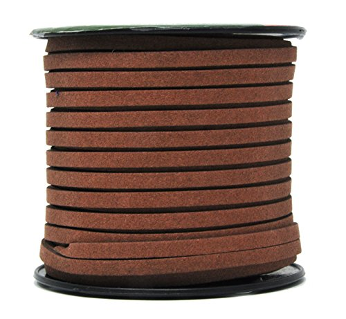 Mandala Crafts 50 Yards 5mm Wide Jewelry Making Flat Micro Fiber Lace Faux Suede Leather Cord (5mm, Chocolate Brown)