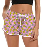 Idgreatim Big Girls Women Graphic Printed Swim Bottom Trunks Quick Dry Pineapple Pattern Hawaiian Bathing Suit Workout Gym Athletic Activewear Swimming Trunks L