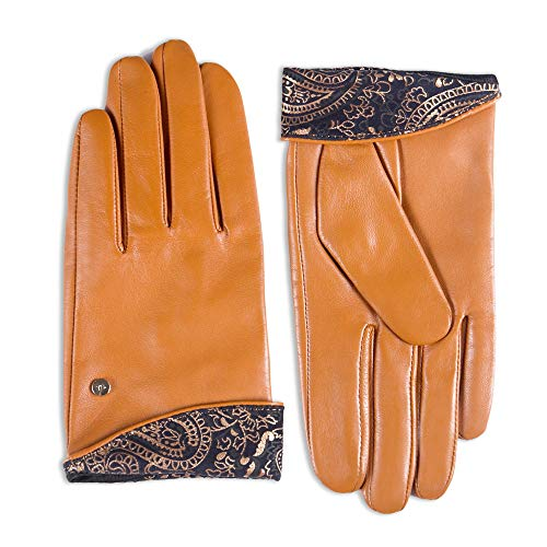 """YISEVEN Women's touchscreen Fashion Lambskin Leather Gloves Vintage Embroidery Button Decoration Genuine Elegant Warm hand Fur Heated Lining Ladies Winter Dress Driving GiftGongac 9.0""""/XXXL"""
