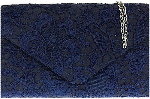 Ladies Satin Lace Clutch Bag Shoulder Chain Elegant Wedding Evening Womens - Burgundy Navy