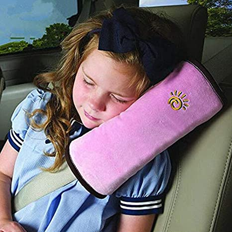 Kasstino Soft Car Child Baby Seat Belt Cushion Auto Shoulder Pad Seat Strap Cover Pillow (Beige)