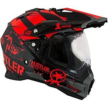 Hustler Hardcore Since 1974 Dual Sport Red And Black Gloss Motorcycle Helmet - X-Large