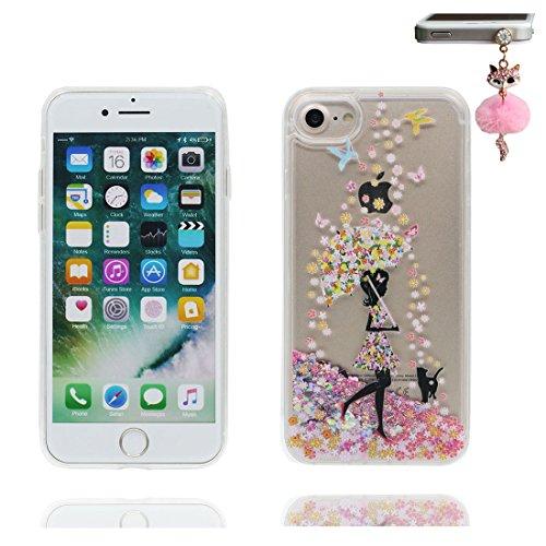 iPhone 7 Coque, Cover étui pour iPhone 7 4.7 pouces, Bling Glitter Fluide Liquide Sparkles Flowing Brillante, iPhone 7 Case anti-chocs Fille noire Umbrella & Bouchon anti-poussière