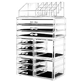 hblife Acrylic Jewelry and Cosmetic Storage Drawers Display Makeup Organizer Boxes Case with 11 Drawers, 9.5″ x 5.4″ x 15.8″, 4 Piece