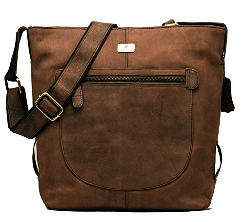 DH Monaco genuine buffalo leather shopper bag in vintage style - Nutmeg by Devil Hunter