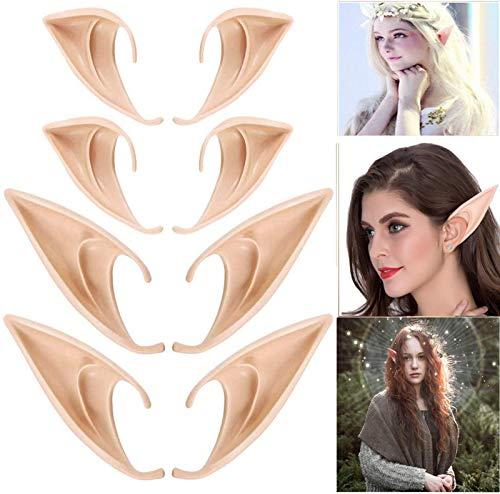 4 pares de orejas de hadas divertidas, orejas de hadas de latex, adecuadas para accesorios de cosplay de hadas, accesorios de disfraces, carnaval, fiesta de Halloween