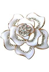 18k Gold Plated Clear Crystal White Enamel Flower Az7433b Brooch pin