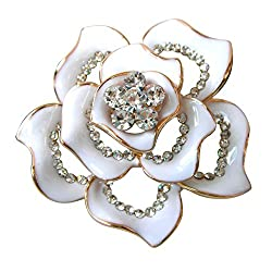 Gold Plated Crystal White Enamel Flower Brooch