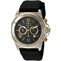 Bulova Men's 98B277 Stainless Steel Analog-Quartz Watch with Silicone Strap (Black)