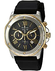 Bulova Mens Quartz Stainless Steel and Silicone Casual Watch, Color:Black (Model: 98B277)