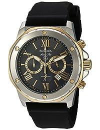 Bulova - Reloj casual de cuarzo, acero inoxidable y silicona para hombre, color negro (modelo: 98B277)