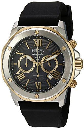 Bulova Men's Stainless Steel Analog-Quartz Watch with Silicone Strap, Black, 24 (Model: 98B277)
