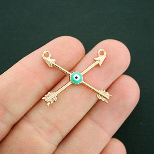 2 Arrow Connector Charms Gold Tone and Enamel Evil Eye - GC833 NEW1 Jewelry Making Supply Pendant Bracelet DIY Crafting by Wholesale Charms