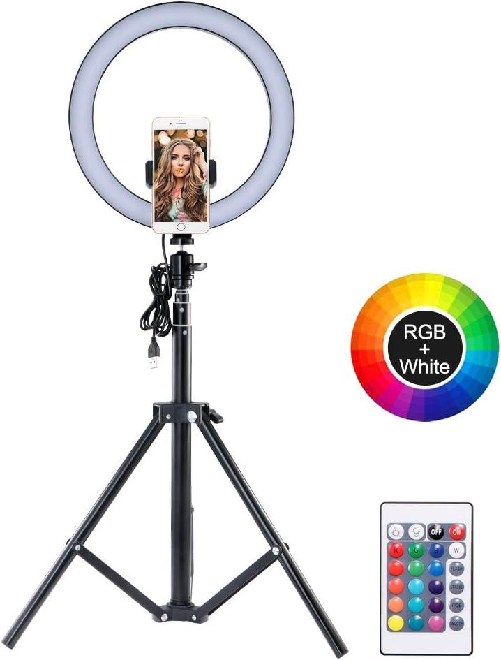 TopGreat LED Ring Light 10.2 LED Ring Light Trépied Photo Video Kit déclairage LED pour Selfie, maquillage, Vlog, Prise de vue vidéo téléphone Dimmable 4 Modes déclairage