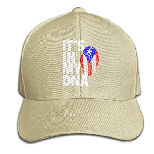 Men/Women ITâ€TMS in My DNA Puerto Rico Flag Outdoor Duck Tongue Hats Adjustable Washed Plain Cap