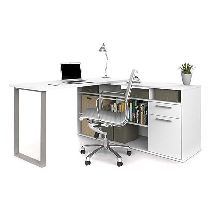 L Shaped Desk In White