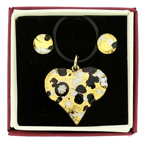 (GlassOfVenice Murano Glass Venetian Reflections Heart Necklace and Earrings Set - Bl)
