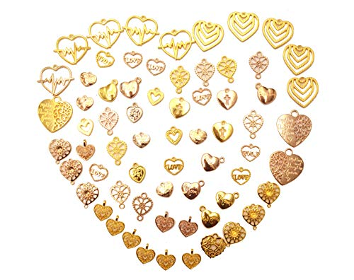Yansanido 100 Gram Assorted Heart Gold DIY Antique Charms Pendant Mixed Charms Pendants Necklace Bracelet Wedding DIY Craft Making Accessory (100g Heart Gold)
