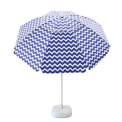 "Caymus 7 ft Outdoor Beach Umbrella Pool Umbrella with Carry Bag,Blue - SIZES: 7 ft Tropical Island Stripe Beach Umbrella perfect for Beach, Bar, Patio, Deck, Garden. DURABLE: Metal Pole. 1.5"" Pole fits all the standard bases.8 Ribs construction enhanced durability, ADJUSTABLE:Easily tilts and adjust to keep you in the shade all day. - shades-parasols, patio-furniture, patio - 51eGEVTCZgL. SS400  -"