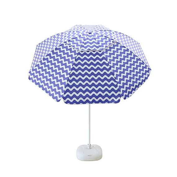 APARESSE 7 Foot Outdoor Sun Shade Beach Umbrella Blue and White Stripe Portable with Carry Bag - Strong support--- The beach umbrella is supported by 8 iron frame ribs, with strong supporting force, good windproof effect and high safety. Long-lasting coverage---The weatherproof canopy has a tilting function to maximize the sunshade for you. Protects you from UV rays. Portable storage-----It is easy to fold and store, and the carry bag is very space efficient. Carrying bag of the same material. Easy to carry. - shades-parasols, patio-furniture, patio - 51eGEVTCZgL. SS570  -