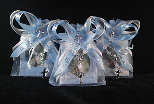 DreemsGate Blue Baptism Memories Bags 12pcs / Prayer Books. -Spanish- (12) Organza Favor Bags. (12) Mini Rosaries. Libro En Miniatura De Oraciones para Bautizo, para Nino. Party Pack