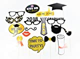 Love Events 2018 Graduation Photo Booth Props Decorations for Your Party, 30pcs Black and Gold Theme