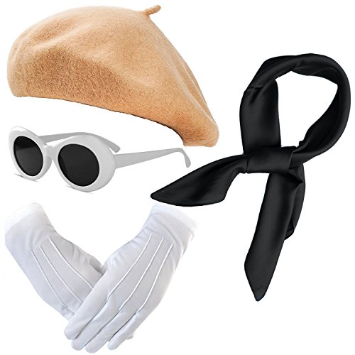 French Themed Costume Accessories Set - Beret Hat,Sheer Chiffon Scarf,Deluxe Theatrical Gloves,Retro Oval Clout Goggles Bold Sunglasses for Womens & Girls (OneSize, -