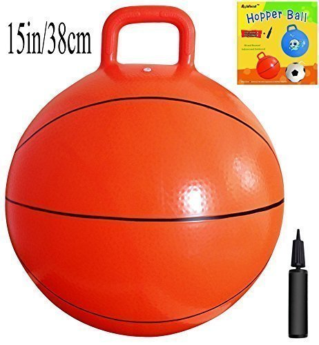 Space Hopper Ball with Pump in Basketball Style, 15in/38cm Diameter for Ages 3-5, Hop Ball, Kangaroo Bouncer, Hoppity (Apple Ball)