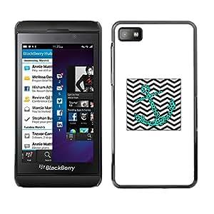 For Blackberry Z10 Case , Leopard Teal Chevron Waves Sea - Diseño Patrón Teléfono Caso Cubierta Case Bumper Duro Protección Case Cover Funda