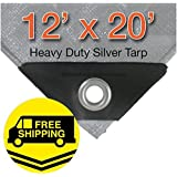 12 x 20 Heavy Duty Silver/Black Waterproof UV Blocking 10 Mil Poly Tarp by P-Line