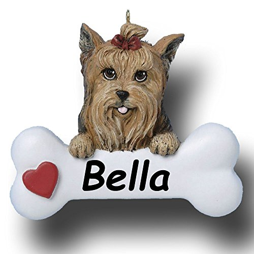 Personalized Yorkie Yorkshire Terrier Dog and Bone Christmas Ornament - 3 - Ornament Teacup Christmas Terrier