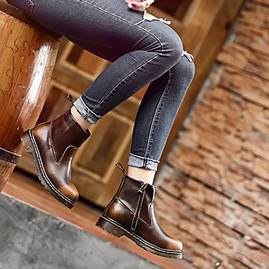 Women's Shoes Nappa Leather Fall Winter Cowboy / Western Boots Bootie Combat Boots Boots Flat Heel Booties/Ankle Boots For Casual Outdoor Brown G4p7KlwQwx