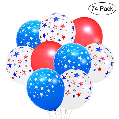 LUOEM 4th of July Balloons Patriotic Party Decorations Star Print Latex Balloons Independence Day and Veterans Day Party Supplies 74PCS]()