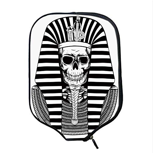 YOLIYANA King Durable Racket Cover,Egyptian Pharaoh Ruler Mummy Skull Skeleton Statue for Ancient Egypt Lovers Print for Sandbeach,One Size