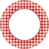 Amscan Disposable Classic Picnic Red Gingham Border Round Plates Party Tableware, Paper, 8'', Pack of 40 Childrens, 8''