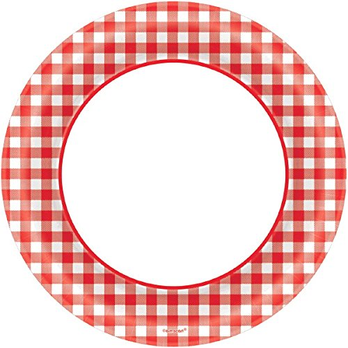Amscan Disposable Classic Picnic Red Gingham Border Round Plates Party Tableware, Paper, 8'', Pack of 40 Childrens, 8'' by Amscan