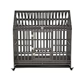 LUCKUP Heavy Duty Dog Cage Strong Metal Kennel and Crate for Medium and Large Dogs, Pet Playpen with Four Wheels,Easy to Install,48 inch,Black …