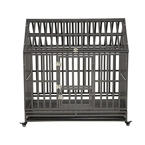 LUCKUP Heavy Duty Dog Cage Strong Metal Kennel and Crate for Medium and Large Dogs, Pet Playpen with Four Wheels,Easy to Install,48 inch,Black ...