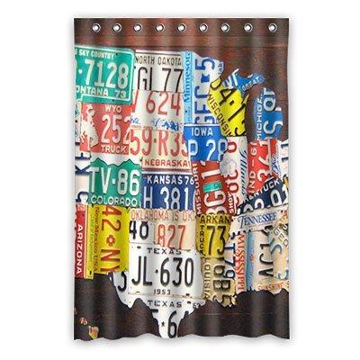 Custom License Plate Shower Curtain Polyester 110cm X 183cm