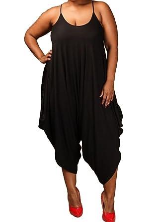 977e2e6d860 curvyluv.com Women s Plus Size Sleeveless Harem Capri Length Jumpsuit One  Piece Tank Solid (