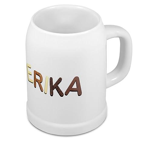Jarra de cerveza con nombre Erika - diseño chocolate letras - nombre-taza, taza