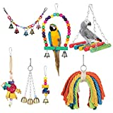 TOOGOO Birds Swing Toys, 7 Pcs Colorful Parrots Chewing Hanging Hammock Swing Perches Pet Bird Hanging Bell Tearing Toys for Parakeets Cockatiels, Macaws, Parrots, Love Birds, Finches