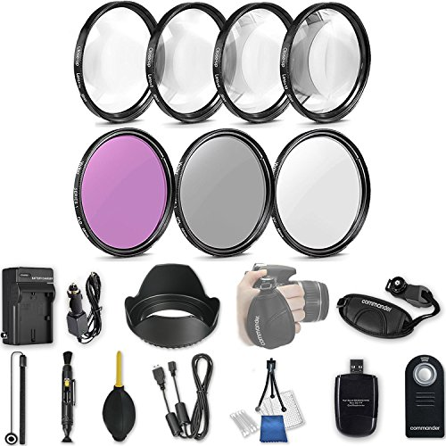 58mm 21 Pc Accessory Kit for Canon EOS T6i, T7i, 77D, T6s, 750D, 800D, 760D DSLRs with UV CPL FLD Filters, & 4 Piece Macro Close-Up Set, and More by 33rd Street